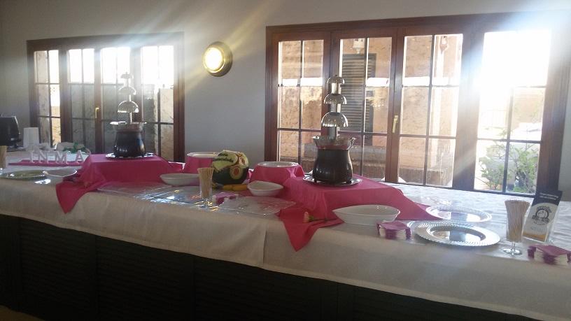 manteleria rosa y blanca con fuentes de chocolate